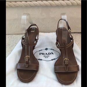 Prada size 9 1/2 brown T strap leather sandals